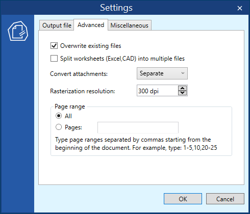Advanced settings in DocuFreezer