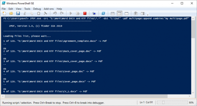 Command line converter 2PDF can save all files from a list into multipage PDF