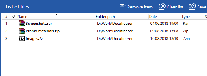 Convert RAR, ZIP, and 7-ZIP archives with DocuFreezer