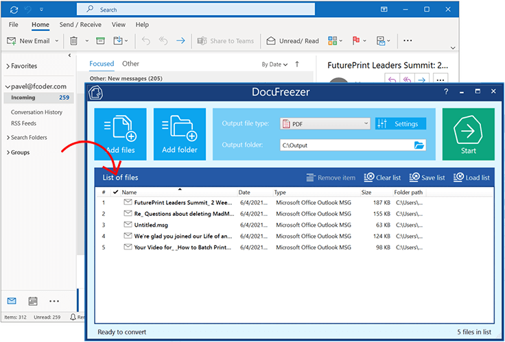Drag'n'drop messages directly from Microsoft Outlook to DocuFreezer