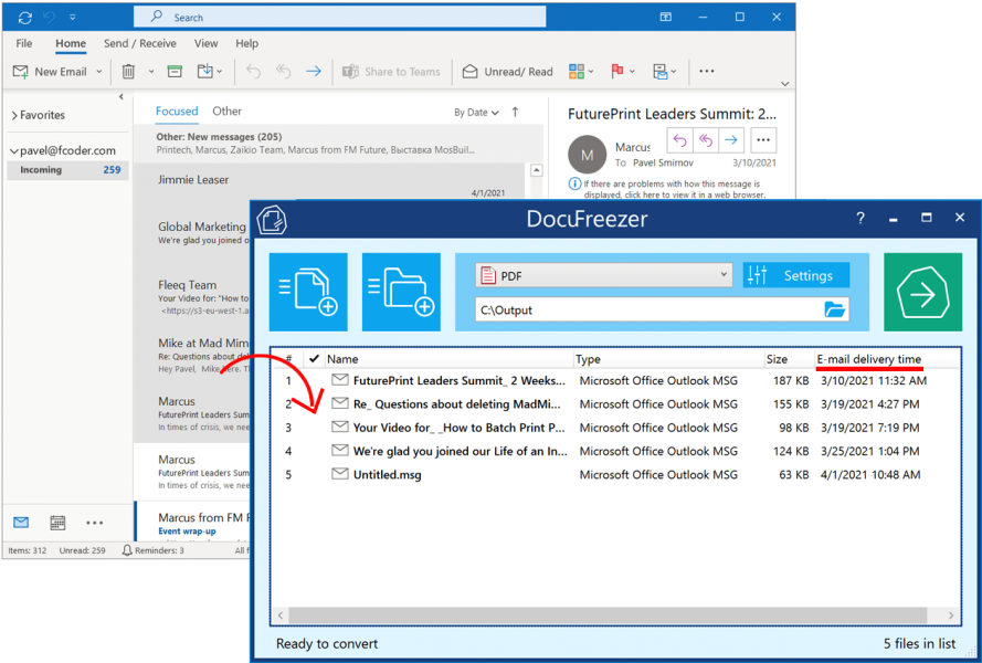 Batch convert Outlook emails to PDF or TIFF