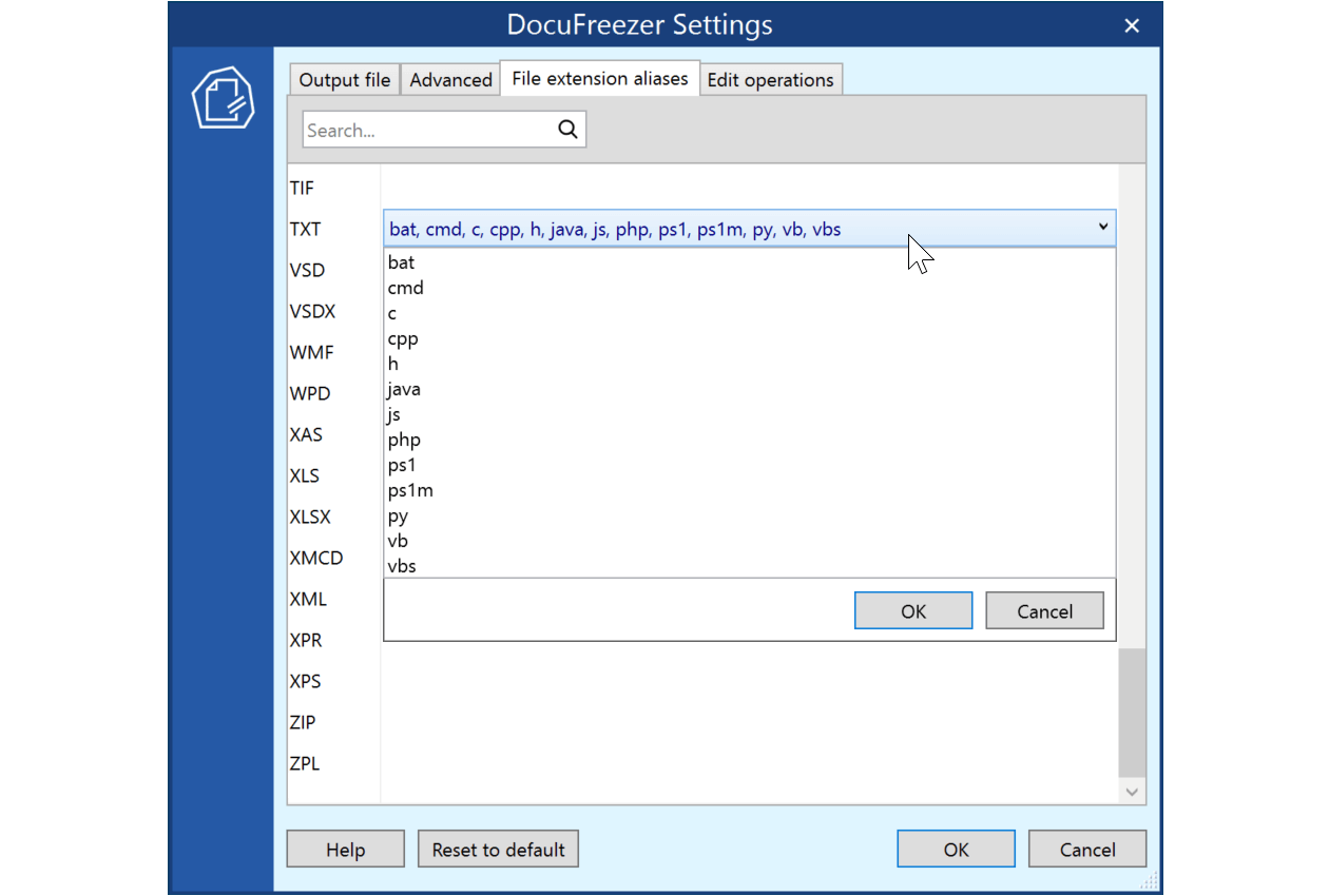 Use file extension aliases to set file association