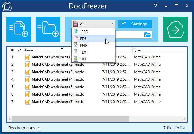 Convert MathCAD worksheets to PDF or images in batches