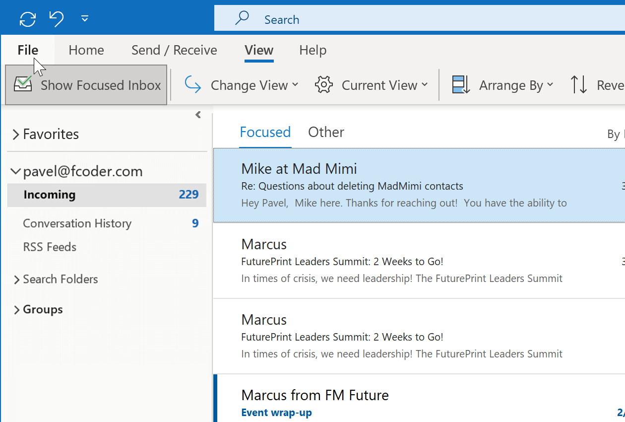 Open Outlook and click the File tab