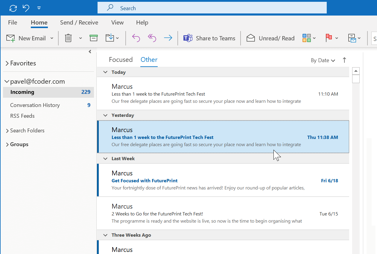 Open Outlook and select an email that you wish to save