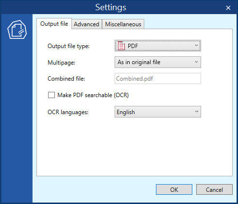 Output file settings in DocuFreezer