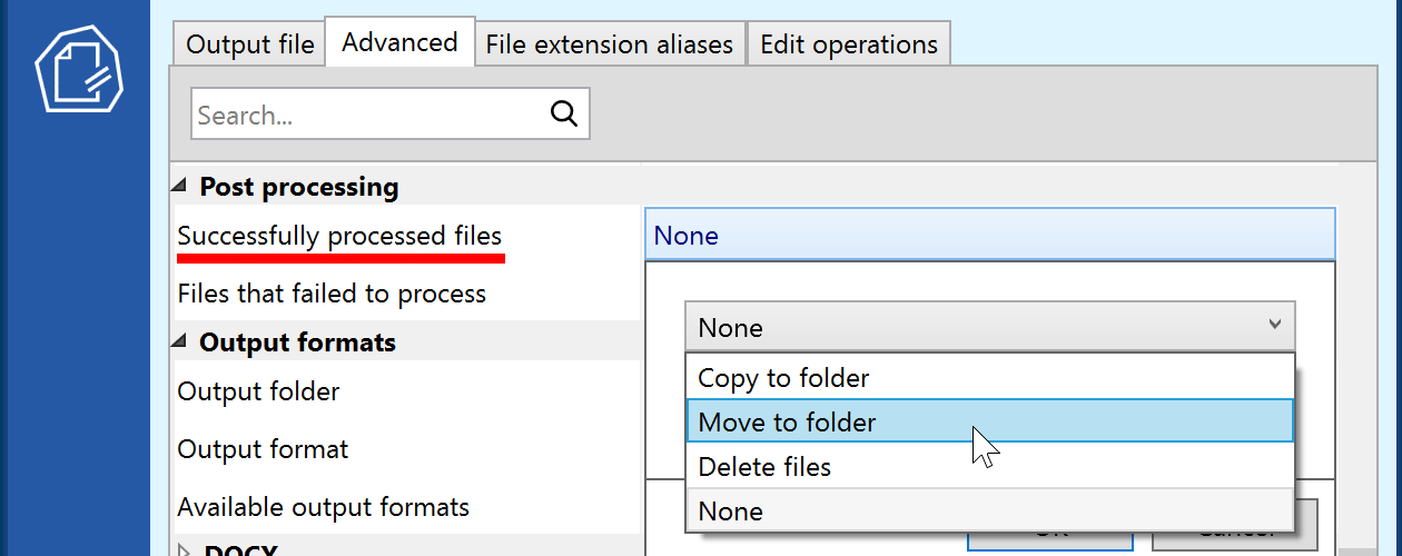 Control Post-Processing Actions