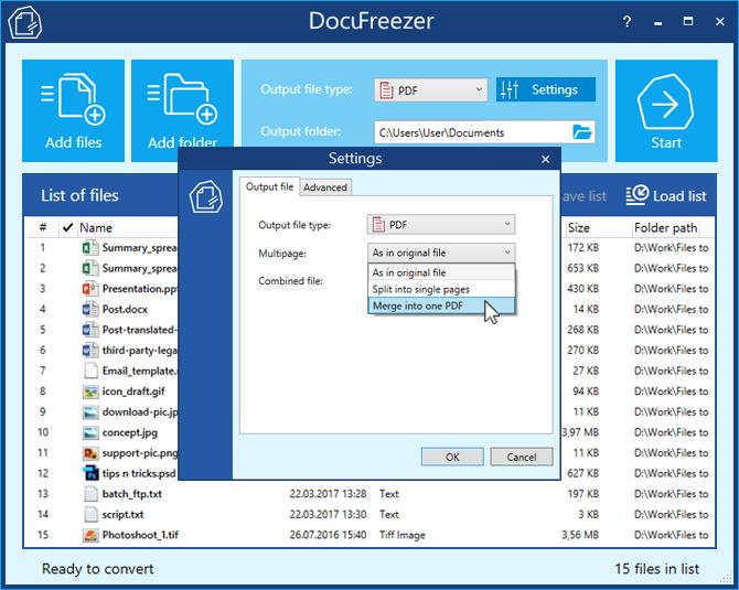 DocuFreezer - Convert PDF to JPG, XPS to PDF, TIFF to JPG, HTML to