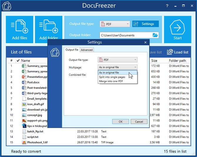 DocuFreezer - Convert PDF to JPG, XPS to PDF, TIFF to JPG