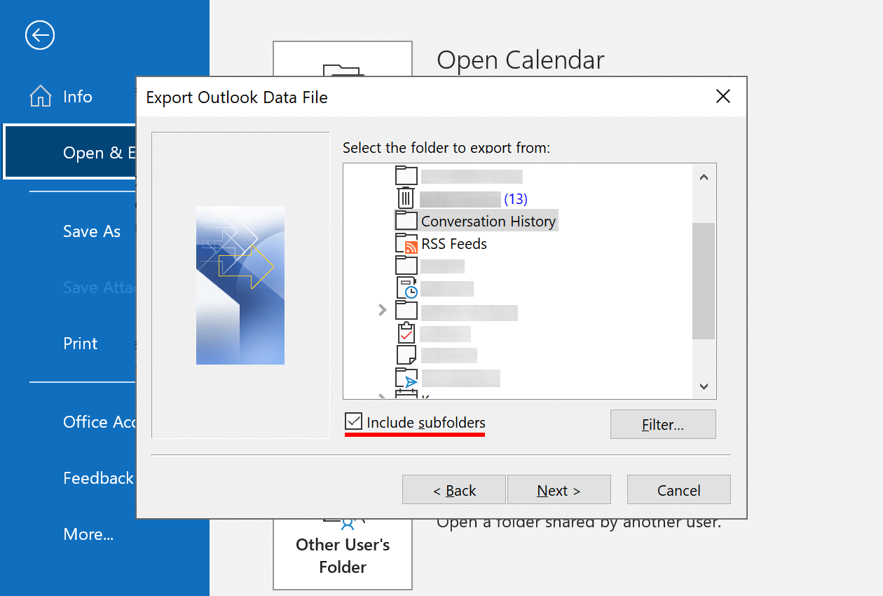 Select the folder that you want to export