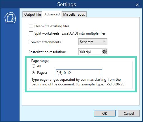 Select a page range before batch conversion